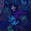 Vector Seamless Pattern Of Monotone Blue Forest For Summer Tropi Royalty Free Stock Images - 107135449