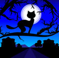 Vector Lonely Cat On A Tree Against The Night Sky Royalty Free Stock Photography - 10725387