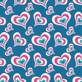 Colored Hearts On A Blue Background Seamless Valentine`s Day Pattern For Your Design Vector High Quality Illustration Stock Images - 107220754