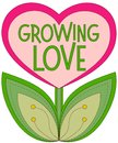Growing Love Poster With Heart Shaped Plant Isolated On White Background. Stock Photos - 107237373