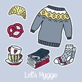 Set Of Vector Hand Drawn Stickers. Stock Photo - 107246630