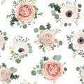 Seamless Pattern Vector Floral Watercolor Style Design: Garden P Royalty Free Stock Image - 107292906