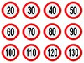 Speed Limit Sign - Set Of Circle Speed Limit Signs With Red Border Round Stock Photos - 107366753