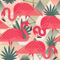 Exotic Beach Trendy Seamless Pattern, Patchwork Illustrated Floral Vector Tropical Banana Leaves. Jungle Pink Flamingos Stock Photo - 107398770