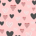 Seamless Pattern With Cute Decorated Hearts. Sketch, Doodle, Drawn By Hand. Stock Images - 107431684