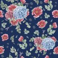 Vintage Seamless Pattern With Pink Anemones, Eucalyptus And Blue And Pink Hydrangeas Stock Image - 107453861
