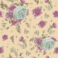 Vintage Seamless Pattern With Pink Anemones, Eucalyptus And Blue And Pink Hydrangeas Royalty Free Stock Photo - 107453865