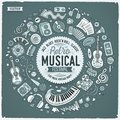 Set Of Musical Cartoon Doodle Objects, Symbols And Items Royalty Free Stock Photos - 107495078