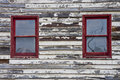 Red Windows In Old Wall Stock Photos - 10759863