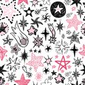 Funny Doodle Stars And Comets Icons Seamless Pattern. Hand Kids Royalty Free Stock Photography - 107550187