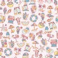 Summer, Travel And Beach Sketch Seamless Pattern In Black And White Colors. Travelling Hand Draw Elements With Stock Photography - 107569702