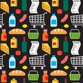 Supermarket Products Seamless Pattern Stock Photos - 107576893
