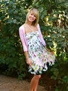 Blond Teen In Floral Dress Royalty Free Stock Image - 10766136