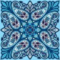 Vector Bandana Print With Paisley Ornament. Cotton Or Silk Headscarf, Kerchief Square Pattern Design, Oriental Style Royalty Free Stock Photo - 107608265