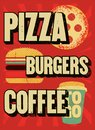 Pizza, Burgers, Coffee. Typographic Vintage Grunge Poster For Cafe, Bistro, Pizzeria. Retro Vector Illustration. Stock Image - 107611411