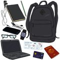 Vector Cartoon Travel Set. Personal Belongings For Journey Royalty Free Stock Images - 107622649