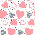 Vector Seamless Pattern With Hand Drawn Hearts. Royalty Free Stock Photos - 107693578