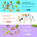 Horizontal Banners Set With Isometric Illustrations Of Kids Playground Stock Photography - 107724492