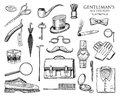 Gentleman Accessories Set. Hipster Or Businessman, Victorian Era. Engraved Hand Drawn Vintage. Brogues, Briefcase, Shirt Royalty Free Stock Photography - 107741557