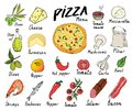 Pizza Menu Hand Drawn Sketch Set. Pizza Preparation Design Template With Cheese, Olives, Salami, Mushrooms, Tomatoes, Flour And Ot Royalty Free Stock Images - 107763649