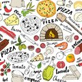 Pizza Seamless Pattern Hand Drawn Sketch. Pizza Doodles Food Background With Flour And Other Food Ingredients, Oven And Kitchen To Royalty Free Stock Photography - 107764077