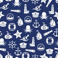 Ocean Or Sea Seamless Pattern With Anchor Boat Bottle Shell Octopus Stock Photo - 107786950