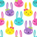 Cute Bright Easter Seamless Pattern Design With Funny Cartoon Characters Of Bunnies Stock Images - 107792744