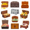 Chest Vector Treasure Box With Gold Money Wealth Or Wooden Pirate Chests With Golden Coins And Ancient Jewels Royalty Free Stock Photo - 107798135