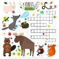 Forest Animals Crossword Puzzle Stock Photography - 107803362