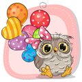 Cute Cartoon Owl Girl With Balloons Royalty Free Stock Photo - 107822865