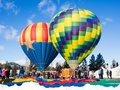 Hot Air Balloons On The Ground Ready To Take Off Stock Photo - 107853120