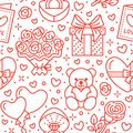 Valentines Day Pink Seamless Pattern. Love, Romance Flat Line Icons - Hearts, Chocolate, Teddy Bear, Engagement Ring Royalty Free Stock Image - 107868516