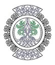 Celtic Ornament With Tree Of Life , Decorative Curls In Circle Stock Photos - 107870883