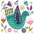 Art Set Vector Colorful Illustration With Beautiful Birds And Flowers. Art Poster For Decoration Your Interior And For Royalty Free Stock Photography - 107873857