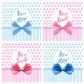 VECTOR Cute It`s Boy Girl Cards With Realistic Bows Stock Photography - 107876652