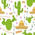 Cute Mexican Seamless Pattern With Cactus, Sombrero In Green, Yellow, Pink And White Colors. Natural Vector Background Stock Photo - 107879010