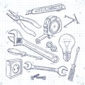 Hand Sketch Icons Set Of Carpentry Tools, Pliers, Screwdriver, Light Bulb And The Wrench Royalty Free Stock Images - 107948869