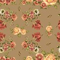 Watercolor Bouquet Flowers On A Beige Background. Floral Seamless Pattern. Royalty Free Stock Photography - 107967227