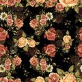 Watercolor Bouquet Flowers And Shade On A Black Background. Floral Seamless Pattern. Stock Photos - 107967593
