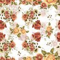 Watercolor Bouquet Flowers And Shade On A White Background. Floral Seamless Pattern. Royalty Free Stock Photography - 107967937