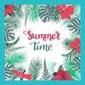 Tropical Background With Summer Time Text. Stock Photo - 108060630