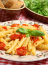 Rigatoni Pasta With Roasted Cherry Tomatoes Royalty Free Stock Images - 10817779