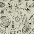 Seamless Pattern With Globe, Compass, World Map And Wind Rose. Vintage Science Objects Set In Steampunk Style. Stock Photo - 108103010