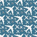 Airplane Seamless Pattern Background Vector Illustration Top View Plane And Aircraft Transportation Travel Way Design Royalty Free Stock Photography - 108184557