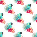 Tropical Pattern With Parrot Royalty Free Stock Photo - 108195425