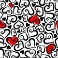 Valentine`s Day Seamless Pattern With Hearts. Vector Illustration. Stock Image - 108196991