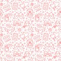 Valentines Day Seamless Pattern. Love, Romance Flat Line Icons - Hearts, Engagement Ring, Kiss, Balloons, Doves Royalty Free Stock Images - 108222339