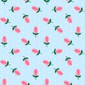 White Polka Dots On Light Blue Background Flower Pink Tulips Sea Royalty Free Stock Photo - 108262655