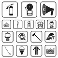 Fire Department Black Icons In Set Collection For Design. Firefighters And Equipment Vector Symbol Stock Web Royalty Free Stock Photography - 108269727
