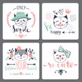 Vector Card Series With Cute Fashion Cats. Stock Photography - 108313092